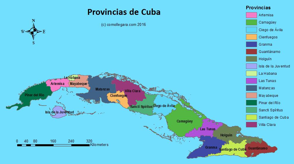 Mapa de las provincias de Cuba